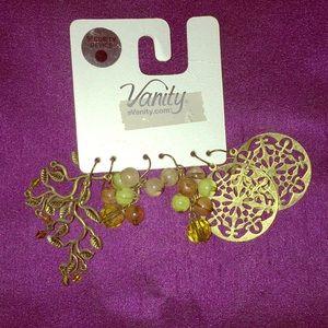 Vanity 3 pair nature themed fish hook earrings.